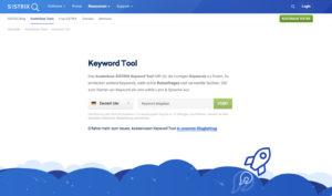 Screenshot Sistrix Keyword Tool