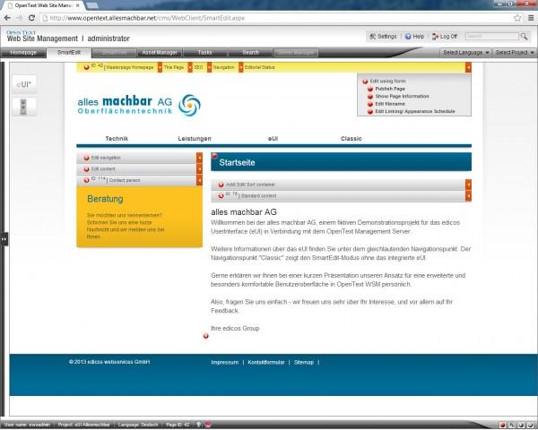 eUI für OpenText Web Site Management, hier ist eine geöffnete Masterpage in der Poweruser-Darstellung zu sehen