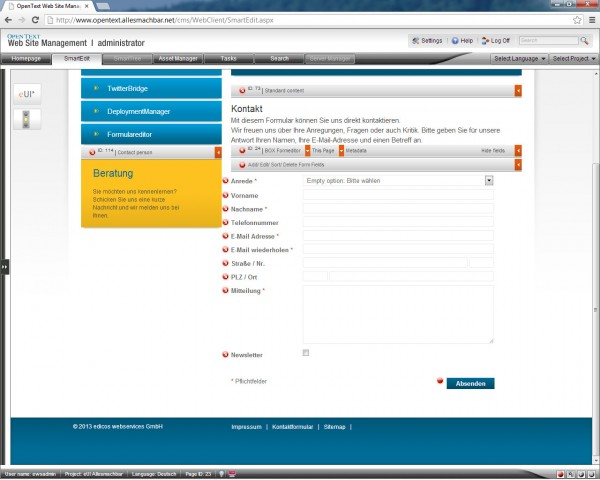 Vollständig generischer, integrierter FormularEditor