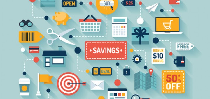 Commerce and savings flat illustration