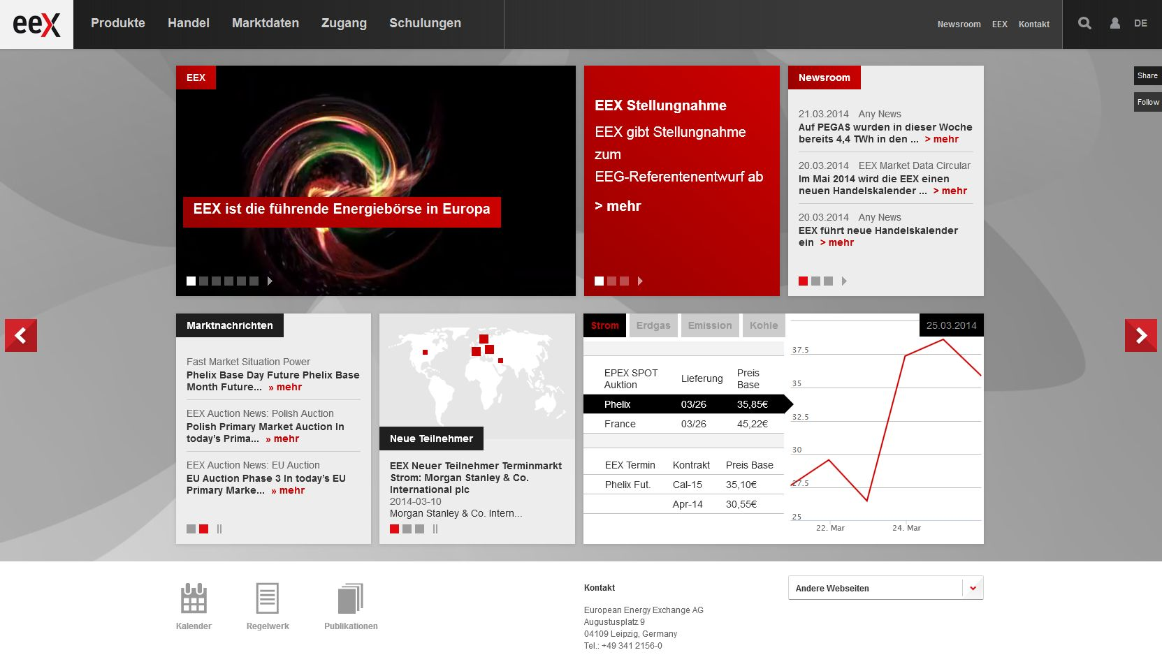 Screenshot www.eex.com/de