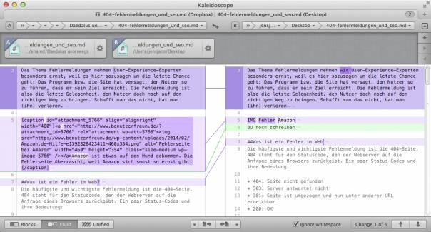 Kaleidoscope vergleicht Texte und macht das Zusammenführen in ein Dokument einfach.