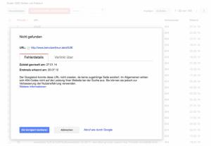 Screenshot Google Webmaster Tools