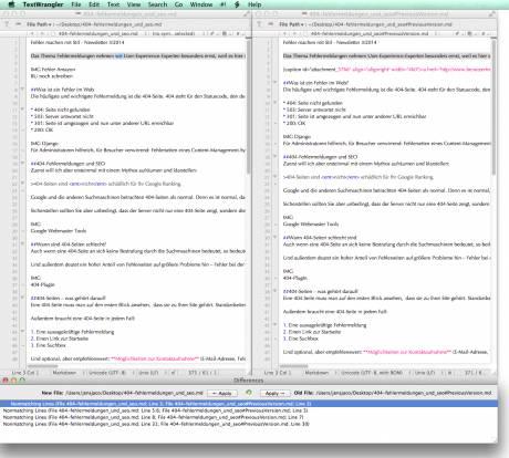 Mit TextWrangler lassen sich Dokumente oder die vom Betriebssystem erstellen Versionen einer Datei vergleichen.