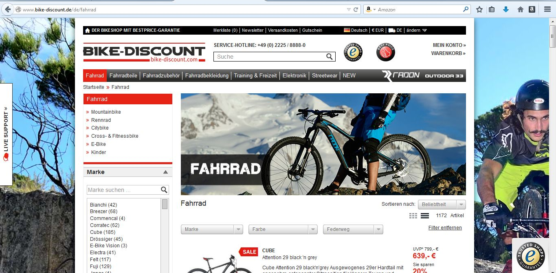 Website bike-discount.de