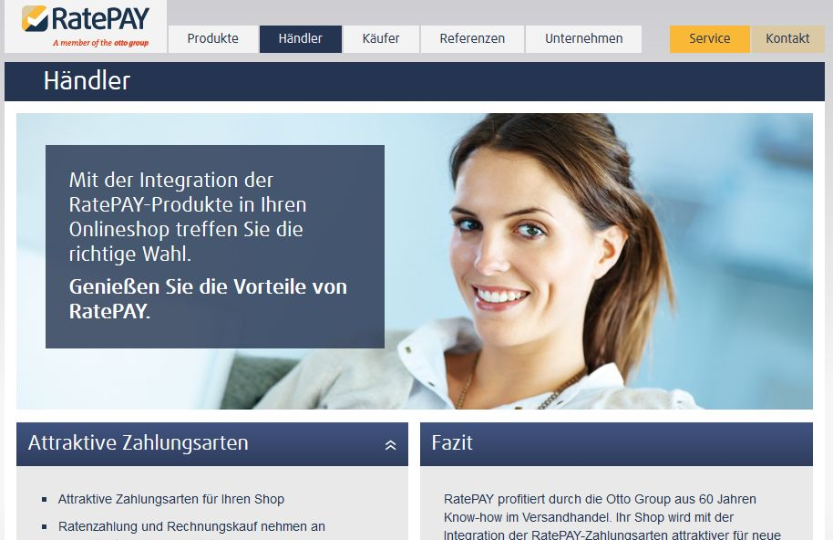 Screenshot www.ratepay.com/haendler