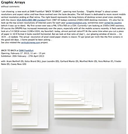 Eine schöne Visualisierung der Bildschirmgrößen von mobilen- und Desktop-Computern des Künstlers Aram Bartholl.