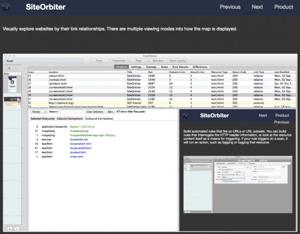 SiteOrbiter bildet die Dateistruktur Ihrer Site ab.