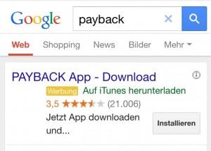 Mit den so genannten Ad Extensions zeigt Google in den Anzeigen spezielle Buttons, z.B. für den direkten Download einer App oder von Telefonnummern, die per Fingertipp direkt angerufen werden.