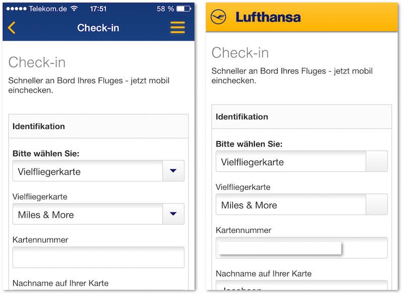 Die Lufthansa App (links) hatte ich heruntergeladen, um mich für einen Flug einzuchecken, bei dem das online nicht ging. Nach 15 Minuten Ladezeit über das quälend langsame Hotel-WLAN musste ich feststellen: Beim Check-in greift die App auf die exakt gleichen HTML-Seiten zu, die ich auch im Browser sehe (rechts). Der Check-in klappte also natürlich hier auch nicht.