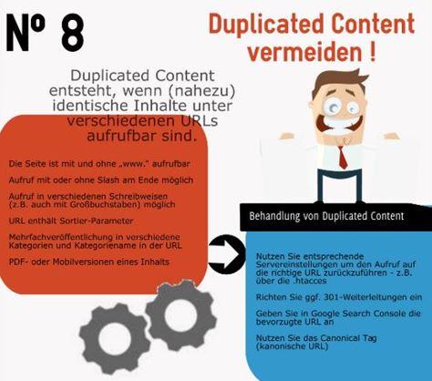 Infografik SEO - duplizierte Inhalte vermeiden