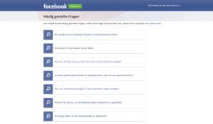FAQ erstellen Screenshot Facebook Business häufig gestellte Fragen