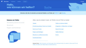 FAQ erstellen Screenshot Twitter Hilfe Center Startseite
