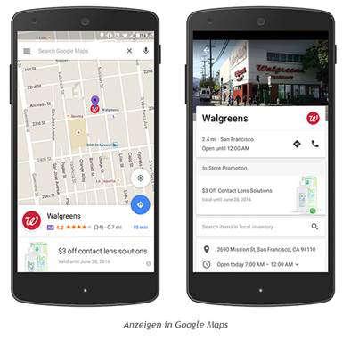 Anzeigen in google maps