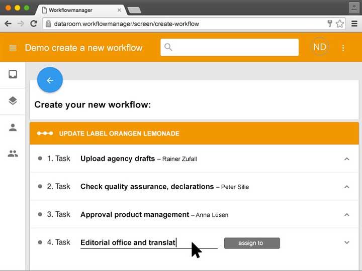 Individuelle Workflows können zusammengestellt werden.