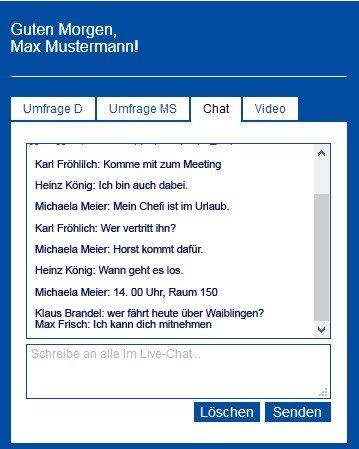 Der Live-Chat stellt in der Aktionsfläche einen Echtzeitchat dar, der für alle Besucher gleichermaßen sichtbar ist.