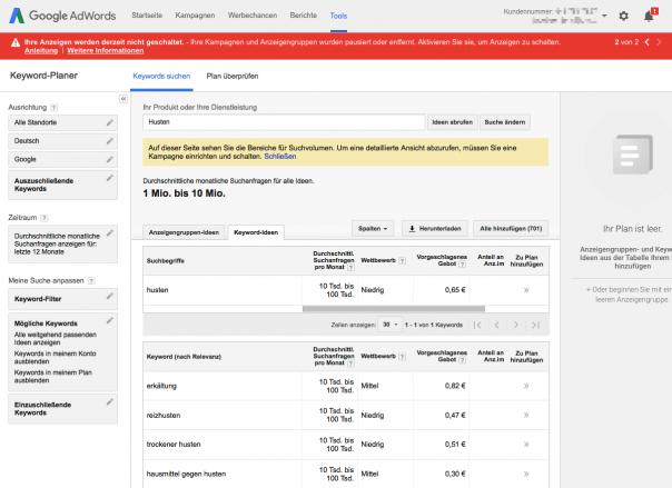 Screenshot Keyword-Planer
