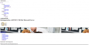 Abbildung der Webseite von contentXXL CMS wenn das Stylesheet nicht geladen würde