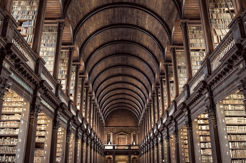 Riesiges Gewölbe, das als Bibliothek dient