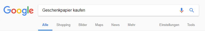 Screenshot von Suchanfrage Google mit Keyword Geschenkpapier kaufen
