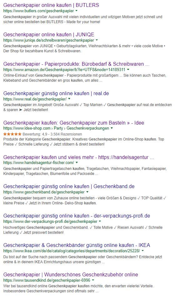 Screenshot Seite 1 der Google Suchergebnisse zum Keyword Geschenkpapier kaufen