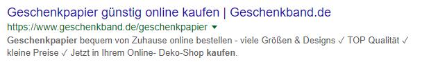 Screenshot eines Snippets der Suchergebnissyeite zum Keyword Geschenkpapier kaufen