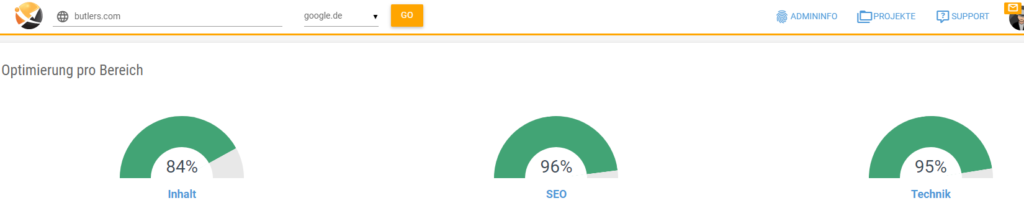 Screenshot der Onpage Analyse Optimierungsgrad Butlers Online Shop