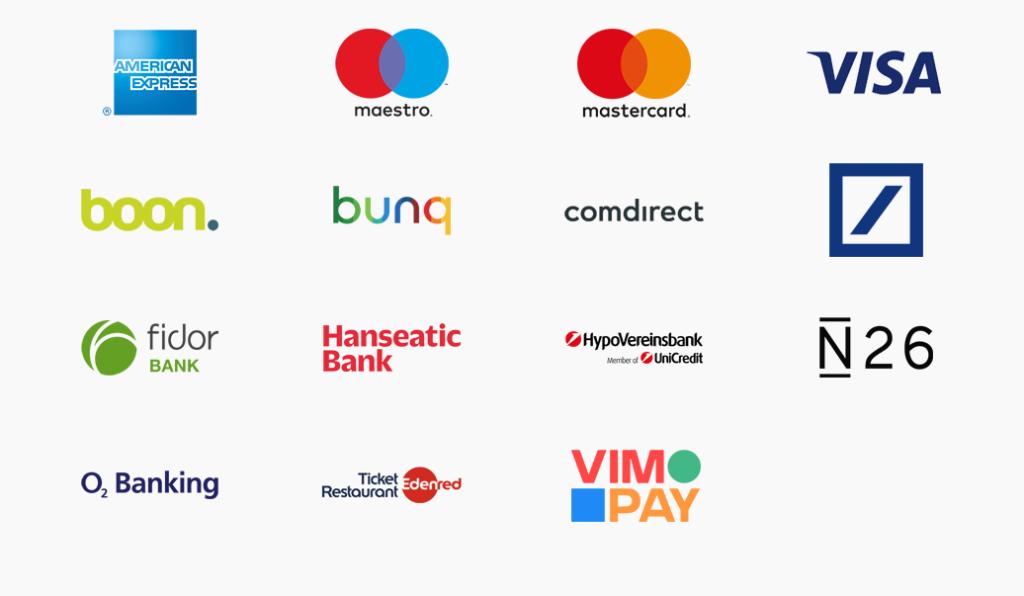 Logos der Banken und Finanzdienstleister, die Partner von Apple Pay in Deutschland sind