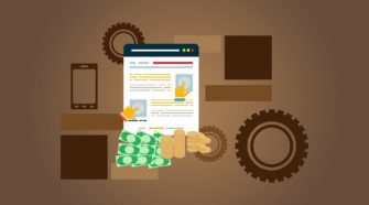 Grafik mit technischen Elementen und Visualisierung einer Shop-Seite im Checkout