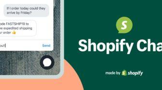 Grafik mit Smartphone und Logo von Shopify Chat