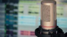 Podcast-Mikrofon vor Bildschirm mit Sound-Software