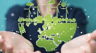 Digitalisierung im Unternehmen Weltkugel erneuerbare Energien