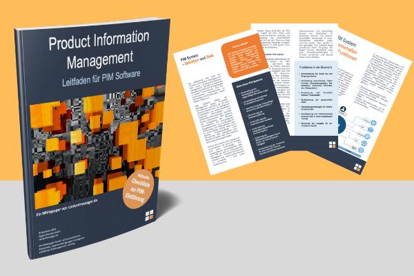 PIM Software Cover und Auszüge Whitepaper PIM Leitfaden PIM Software contentmanager.de