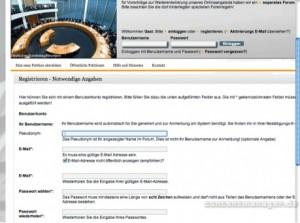 Anmeldung zur Online-Petition des Bundestags