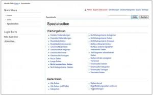 Die Liste der Spezialseiten