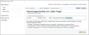 Die Versionen der Seite main Page