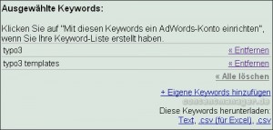 Google Keyword-Tool Downloadmöglichkeit Keywordlisten