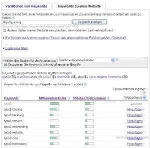 Google Keyword-Tool Feature Keywords zu einer Webseite