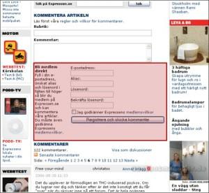Integration von Ajax auf expressen.se