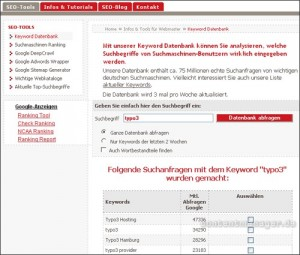 Keyword Datenbank